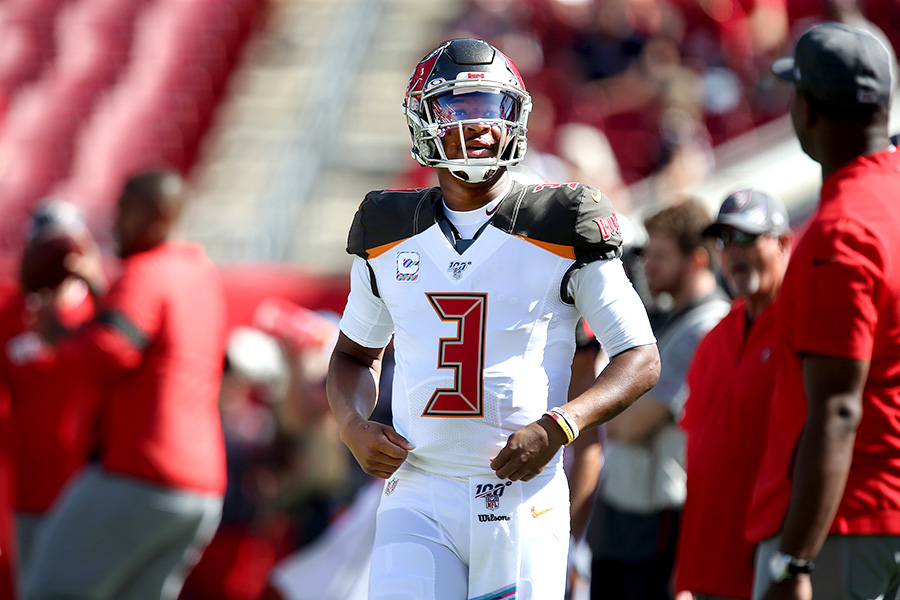 Tampa Bay Buccaneers quarterback Jameis Winston (3) during warm ups before the game between the Tampa Bay Buccaneers and the Arizona Cardinals on Sunday, November 10, 2019, at Raymond James Stadium in Tampa.