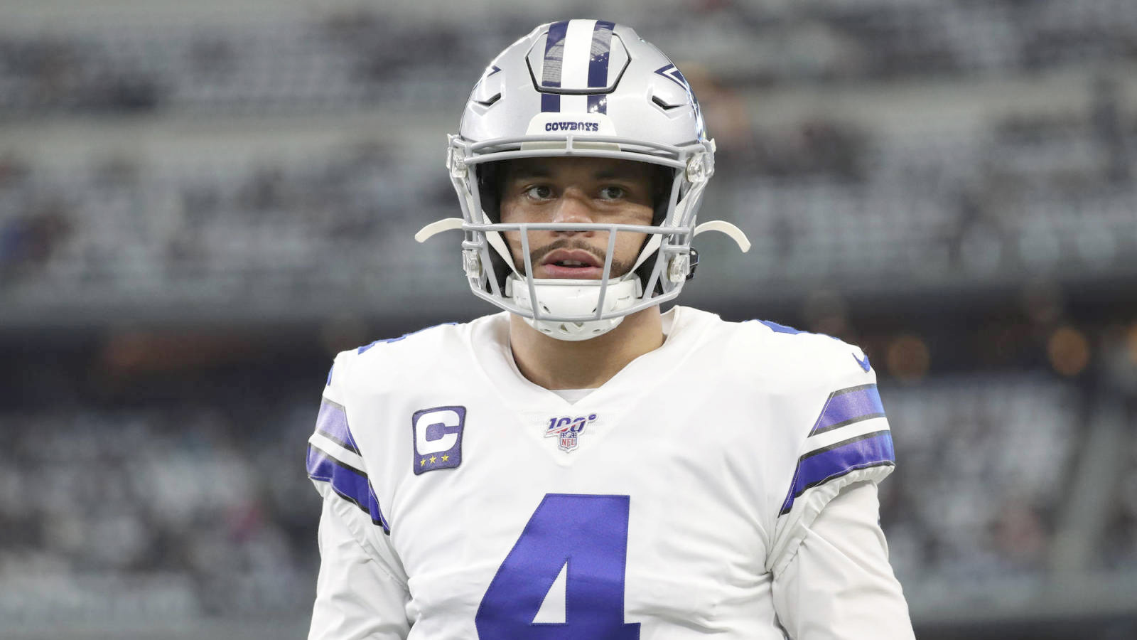 Dec 29, 2019; Arlington, Texas, USA;  Dallas Cowboys quarterback Dak Prescott (4) before the game against the Washington Redskins at AT&T Stadium. Mandatory Credit: Kevin Jairaj-USA TODAY Sports