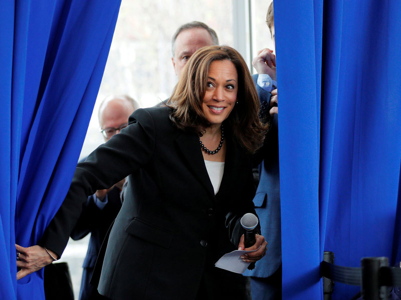 Democratic 2020 U.S. presidential candidate Harris takes the stage for a campaign stop in Keene