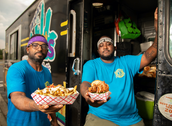 Charlotte, NC- July 16th- Chef Greg Williams and  Chef Jamie Barnes with their What the Fries food truck. Photographed in Charlotte, NC on July 16, 2020. Photo by Peter Taylor